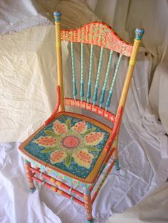 Beautiful Handpainted Antique Chair by pamdesign on Etsy