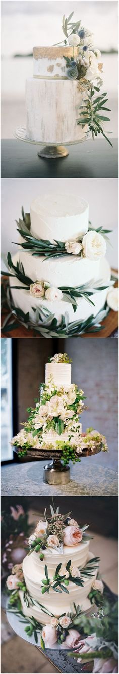 Greenery wedding cakes #weddings #greenweddings #weddingideas #rusticwedding