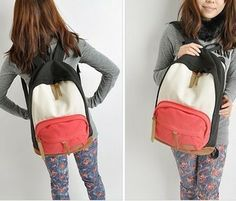 drop shipping Wholesale Korean version of casual shoulder bag cute female student backpack canvas satchel bag influx of women-in Backpacks f...