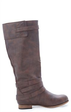 Deb Shops Tall Riding Boot with Exposed Outer Zipper and Ankle Straps $44.90