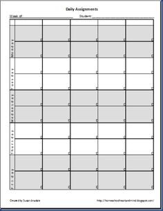 daily assignment template