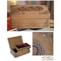 NOVICA Hand Carved Wood Jewelry Box ($77) ❤ liked on Polyvore featuring home, home decor, jewelry storage, brown, clothing & accessories, jewelry, jewelry boxes, wood, jewelry chest and wooden home accessories