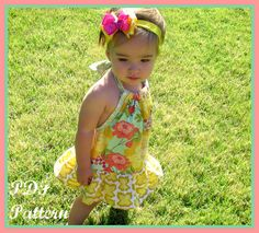 The Chelsea Pillowcase Romper. Girls Romper Sewing Pattern, PDF Sewing Pattern, Pillowcase Romper Pattern, Easy Sewing Pattern for Beginners, Size 3m-5T This is for a pdf pattern, not an actual romper.    A twist on the pillowcase dress! The Chelsea Romper is a halter style pillowcase romper. This pdf pattern includes many color photos and simple to follow instructions on how to make the Chelsea romper version or the separate top and shorts version. In addition to the instructions, you also…