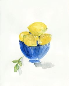 Lemons in Blue bowl art print of still life watercolor painting limited edition Monaco Blue Lemon Yellow Mediterranean kitchen art Watercolor Fruit, Watercolor Paintings, Original Paintings, Art Paintings, Watercolour, Lemon Art, Blue Bowl, Kitchen Art, Kitchen Prints