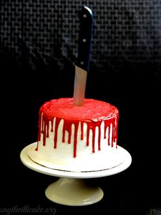 Bloody Halloween Cake with Knife