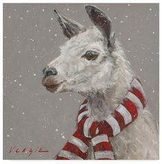 Trademark Fine Art 'Llama With Red And White Scarf' Canvas Art by Mary Miller Veazie, Size: 35 x 35 Christmas Animals, Christmas Art, Christmas Decorations, Christmas Ornaments, Christmas Coasters, Woodland Christmas, Wooden Ornaments, Country Christmas, Alpacas