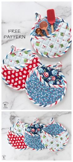 DIY Round Quilted Potholder Free Sewing Pattern & Tutorial DIY Runde gesteppte Topflappen kostenlose Schnittmuster & Tutorial Source by . Easy Sewing Projects, Sewing Projects For Beginners, Quilting Projects, Sewing Hacks, Sewing Tutorials, Sewing Crafts, Sewing Tips, Sewing Ideas, Tutorial Sewing