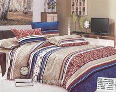Lenjerie de pat bumbac satinat Pucioasa in dungi cu buline si flori Comforters, Textiles, Satin, Blanket, Bed, Home, Stream Bed, House, Elastic Satin