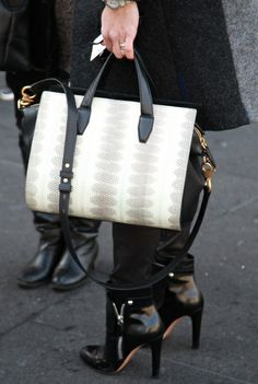 Black and White Bag - Black Booties #style #fashion #streetstyle #accessories #heels #handbag