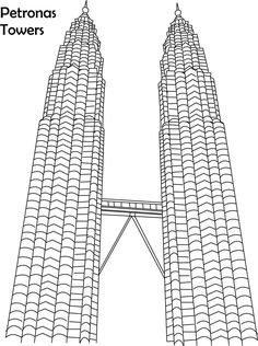 Petronas towers coloring page for kids Cityscape Drawing, City Drawing, Building Drawing, Building Sketch, Art Drawings For Kids, Drawing For Kids, Learn Drawing, Petronas Towers, Colour Architecture