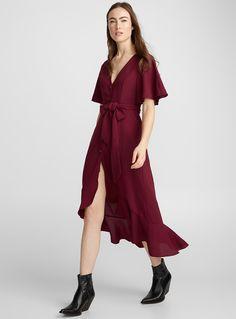 Asymmetric ruffle buttoned dress  c38fa1a42c0