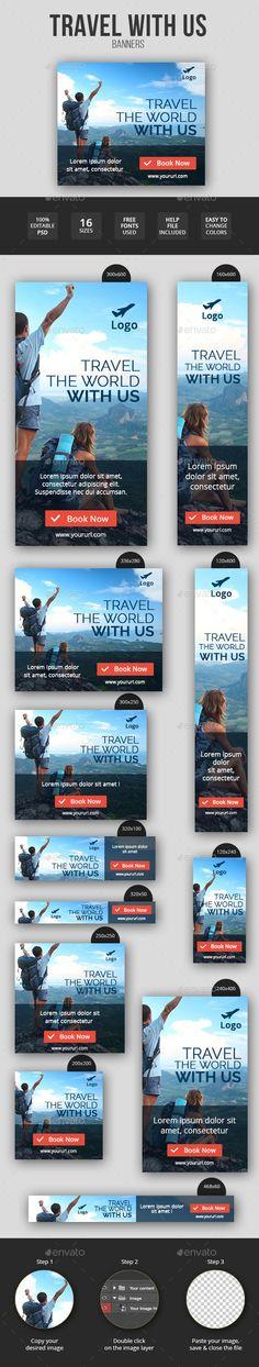 Flat & Minimal Travel Banners Tempalte #design Download: http://graphicriver.net/item/flat-minimal-travel-banners/11547501?ref=ksioks