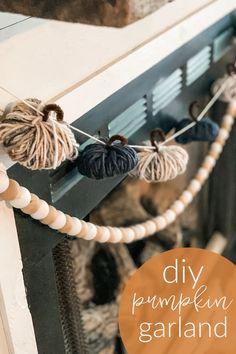 Fall Garland, Diy Garland, Garlands, Fabric Garland, Beaded Garland, Diy Pumpkin, Pumpkin Plants, Fall Home Decor, Dyi Fall Decor
