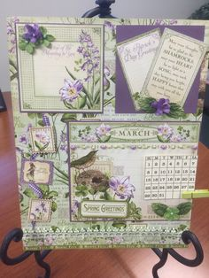 March calendar page using Graphic 45 Time to Flourish paper.