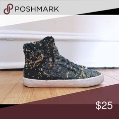 Gold/black Metallic Supra Hightop Sneakers These are show stoppers! You can change the sequins to gold or black. Good condition, some signs of wear on the sole. Supra Shoes Sneakers