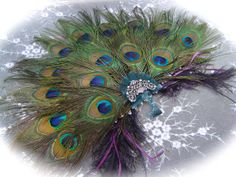 HandHeld BRIDAL Peacock and Ostrich Feather Fan  by Ivyndell, $115.00