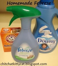 Homemade Febreze! This DIY project only costs 15 cents per bottle! Save money by making this household cleaner at home :)