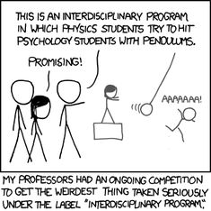 Do funding incentives really lead to fruitful interdisciplinary research?;)     [Replace the pendulums with history students and you'll qualify for a grant!]