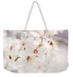 Weekender Tote Bag - White blossoming cherry tree macro, bright young inflorescences nature detail, fresh flowering tree closeup in early springtime. #bag #cherrytree