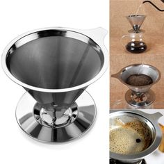 Home Stainless Steel Pour Over Cone Coffee Dripper Double Layer Mesh Filter Paperless Kitchen Coffee Shop Coffee Brewing Helper Pour Over Coffee Filter, Coffee Filter Holder, Coffee Filters, Coffee Brewer, Coffee Shop, Coffee Maker, Coffee Cone, Fresh Ground Coffee, Reusable Coffee Filter