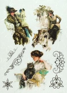 Rice Paper for Decoupage Decopatch Scrapbook Craft Sheet Vintage Lady and Animal #Decoupage