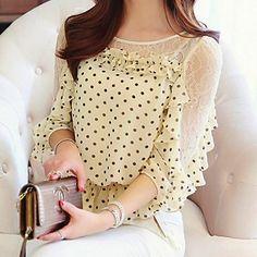 Mujeres cordón de los puntos de empalme blusa de la gasa – USD $ 17.54