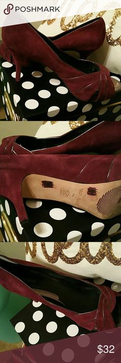 White House Black Market Plum suede platform Heels Beautiful plum color. With a silver linning detail that add flair to any outfit. White House Black Market Shoes Platforms