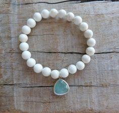 beachcomber white aqua crystal bracelet  by beachcomberhome, $20.00