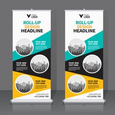 Roll up banner design template Premium Vector Rollup Banner, Tradeshow Banner Design, Pull Up Banner Design, Rollup Design, Standee Design, Banner Design Inspiration, What Is Fashion Designing, Retractable Banner, Web Design