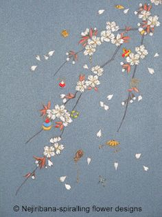 Cherries and treasures - finished - traditional Japanese embroidery techniques
