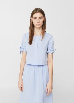 Bow cotton blouse -  Woman | MANGO The Philippines