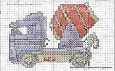 Cantinho das Artes da Cássia: Gráfico de carros, caminhões, carro de bombeiro em ponto cruz