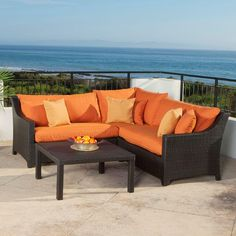 RST Brands Deco 4-Piece Patio Sectional Seating Set with Tikka Orange Cushions
