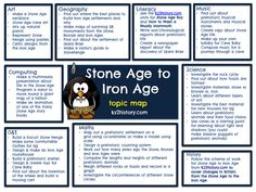 A free cross-curricular topic map showing ideas for how to link the 'Stone Age to Iron Age' topic to other areas of the curriculum. This Stone Age planning map is designed with Year 4 in mind but it could easily be adapted to other year groups. Stone Age Boy, Year 3 Classroom Ideas, Primary History, School Displays, Iron Age, Writing A Book, Writing Ideas, Archaeology, Curriculum