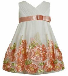* LITTLE GIRL 2T-4T DRESS * Coral Ivory Cross Over Bonaz Rosette Border Mesh Dress CO2HA, Coral, Bonnie Jean Little Girls 2T-6X Bonnie Jean,http://www.amazon.com/dp/B00I2ZKROY/ref=cm_sw_r_pi_dp_dxa6sb1E05KS68C8
