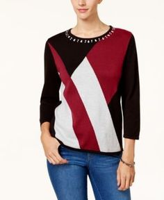 Alfred Dunner Beaded Colorblocked Sweater - Red XL