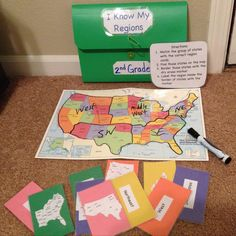 "This geography workjob for social studies is called ""I know my regions"" and would be great to use in a unit covering regions of the United States. This could be done with lessons on global areas and discussing different types of regions. This is intended for 2nd grade. I used contact & construction paper, folder organizer, dry erase marker, napkin for erasing, U.S maps on google, and a laminated United States map. This is a great extension activity for students who finish early & in small…"