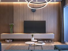 Minimal design of a TV wall unit- by Omar Essam Apartment Interior, Living Room Interior, Home Living Room, Living Room Decor, Home Room Design, Home Interior Design, Living Tv, Modern Tv Wall Units, Living Room Tv Unit Designs