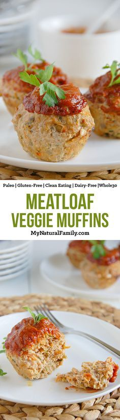 Veggie Meatloaf Muffins Recipe {Paleo, Clean Eating, Gluten-Free, Dairy-Free, Whole30} - I love how these are moist AND healthy from the veggies and light from the ground turkey.