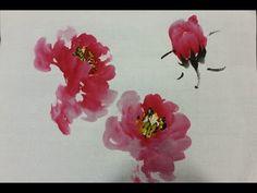Korean Brush Painting - (1) Peony (소현의 목단 그리기) - YouTube