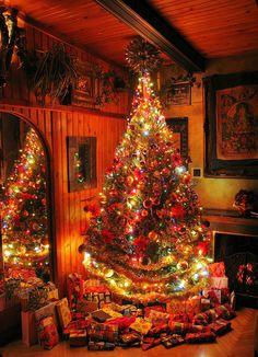 Christmas Decor Ideas - Happy Christmas - Noel 2020 ideas-Happy New Year-Christmas Christmas Scenes, Christmas Mood, Noel Christmas, Country Christmas, Christmas Lights, Xmas, Christmas Tree Colored Lights, Decorations Christmas, Illustration Noel