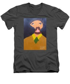 Patrick Francis Charcoal V-Neck T-Shirt featuring the painting Portrait Of Eugene Boch 2015 - After Vincent Van Gogh by Patrick Francis Rembrandt Self Portrait, Purple T Shirts, White Caps, Loose Hairstyles, Vincent Van Gogh, V Neck T Shirt, Slim, Mens Tops, Painting