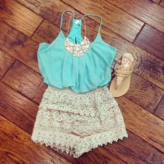 casual summer, high waisted shorts, men fashion, summer outfits, ador, aqua, accessories, lace shorts, chunky necklaces