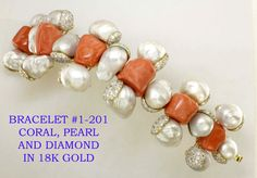 Tony Duquette bracelet with coral,pearl, and diamond in 18k gold
