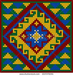 Bright oriental like cross-stitch ethnic pattern or ornament