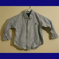 Ralph Lauren Button Down Shirt sz 24 mos Good condition Ralph Lauren Button Down collared shirt, blue plaid pattern, size 24 mos, 100% cotton *all items BOGO 1/2 off, higher price prevails* Ralph Lauren Tops Button Down Shirts