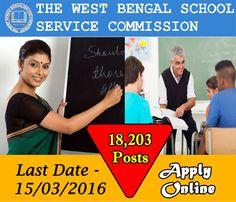 पश्चिम बंगाल केंद्रीय विद्यालय सेवा आयोग में निकली 18,203 सह अध्यापक के पदो पर भर्ती! अधिक जानकारी के लिए देखे: >>http://bit.ly/21zakRI