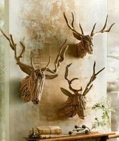 Driftwood Projects, Ornaments Ideas, Deer Heads, Arts And Crafts, Sticks,  Christmas Trees, Art And Craft, Art Crafts