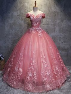 Off the Shoulder Long Ball Gown Lace Princess Prom Dresses Quinceanera Dresses € - FickeAbendKleider.de - Off The Shoulder Long Ball Gown Lace Princess Prom Dresses Quinceanera Dresses - Princess Prom Dresses, Pink Prom Dresses, 15 Dresses, Ball Dresses, Elegant Dresses, Pretty Dresses, Beautiful Dresses, Pink Princess Dress, Evening Dresses