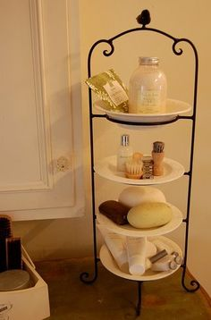Tiered server for bathroom clutter.